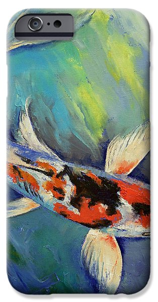 Butterfly Koi iPhone Cases - Showa Butterfly Koi iPhone Case by Michael Creese