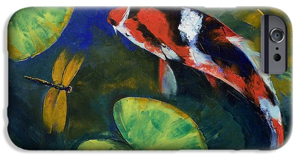 Michael Paintings iPhone Cases - Showa Koi and Dragonfly iPhone Case by Michael Creese