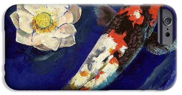 Michael iPhone Cases - Showa Koi and Lotus Flower iPhone Case by Michael Creese