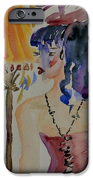 Mardi Gras Paintings iPhone Cases - Showgirl iPhone Case by Beverley Harper Tinsley