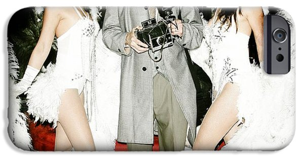 Seductive iPhone Cases - Showgirls and photographer with Polaroid iPhone Case by Nina Prommer