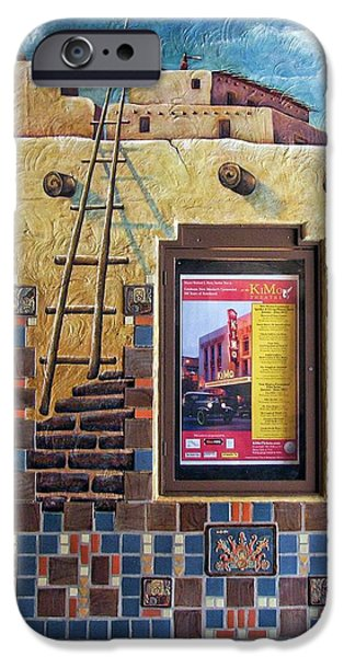 Pueblo Architecture iPhone Cases - Showing at the KiMo iPhone Case by Nikolyn McDonald