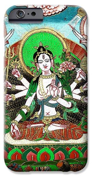 Hindu Goddess Paintings iPhone Cases - Shri Ashtabhuja Mata iPhone Case by Ashok Kumar
