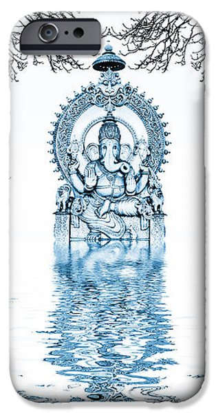 Elephants iPhone Cases - Shri Ganapati Deva iPhone Case by Tim Gainey