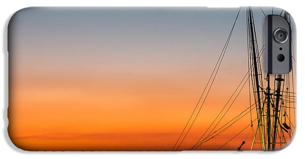 Tidal Creek iPhone Cases - Shrimp Boat at Dusk Folly Beach iPhone Case by Donnie Whitaker