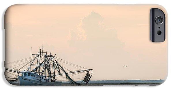 Boat iPhone Cases - Shrimp Boat at Sunset iPhone Case by Duane Miller