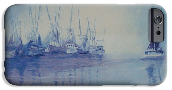Fog Mist Pastels iPhone Cases - Shrimp boats asleep iPhone Case by Ralph Williams