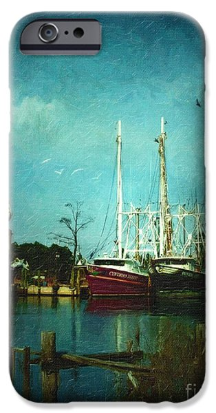 Old Digital Art iPhone Cases - Shrimp Boats Is A Comin iPhone Case by Lianne Schneider