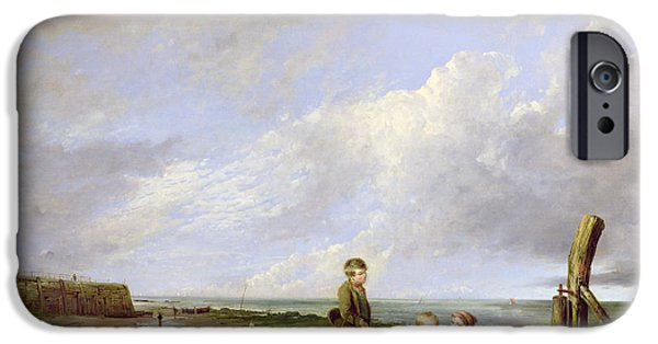 Basket iPhone Cases - Shrimp Boys At Cromer, 1815 Oil On Canvas iPhone Case by William Collins