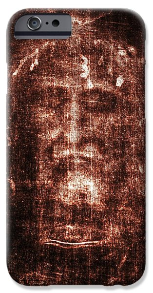 Turin Digital Art iPhone Cases - Shroud of Turin iPhone Case by Christian Art