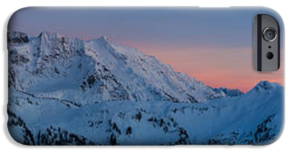North Cascades iPhone Cases - Shuksan Sunset Panorama iPhone Case by Mike Reid