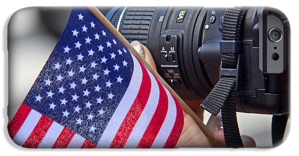 United States iPhone Cases - Shutterbug Supporting The Troops iPhone Case by Tom Gari Gallery-Three-Photography