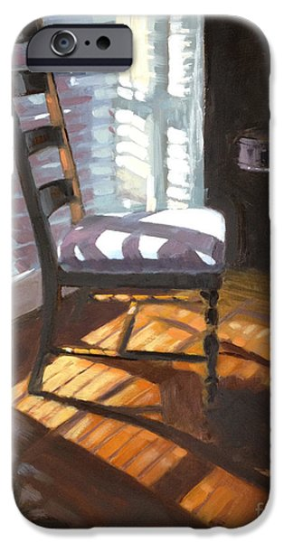 Ladder Back Chairs iPhone Cases - Shuttered Repose  iPhone Case by Nancy  Parsons