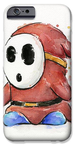 Geek Mixed Media iPhone Cases - Shy Guy Watercolor iPhone Case by Olga Shvartsur