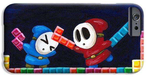 Tetris Block iPhone Cases - Shy Guys Playing Tetris iPhone Case by Katie Clark