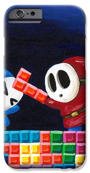 Shy Guys Playing Tetris iPhone Case by Katie Clark