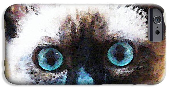 Cuddly iPhone Cases - Siamese Cat Art - Black and Tan iPhone Case by Sharon Cummings