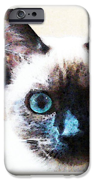 White Cat Art iPhone Cases - Siamese Cat Art - Black and Tan iPhone Case by Sharon Cummings