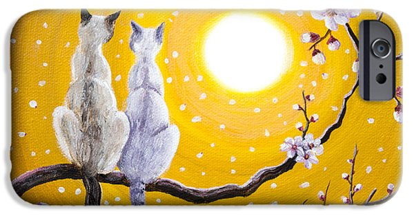 Lilac iPhone Cases - Siamese Cats Nestled in Golden Sakura iPhone Case by Laura Iverson