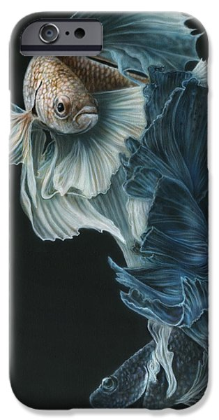 Recently Sold -  - Airbrush iPhone Cases - Siamese Fighting Fish Three iPhone Case by Wayne Pruse