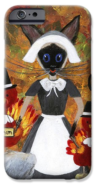 Quaker Paintings iPhone Cases - Siamese Queen of Thanksgiving iPhone Case by Jamie Frier