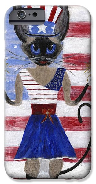 4th July Paintings iPhone Cases - Siamese Queen of the U S A iPhone Case by Jamie Frier