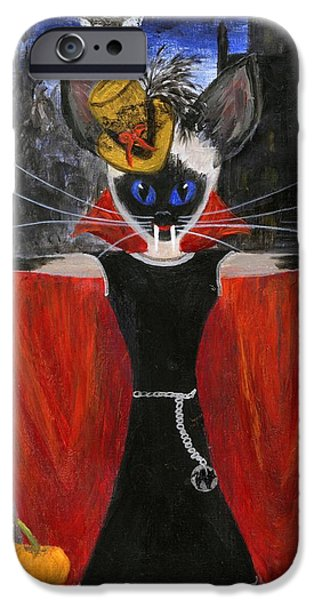 Haunted House iPhone Cases - Siamese Queen of Transylvania iPhone Case by Jamie Frier
