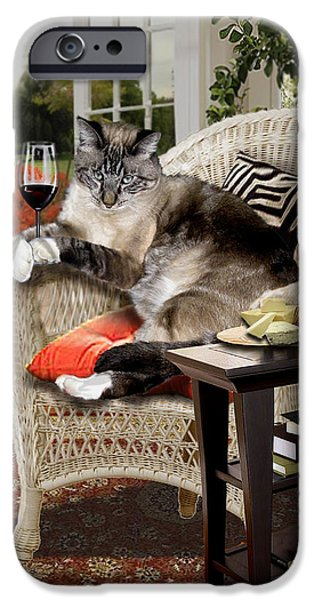 Photo Paintings iPhone Cases - Funny pet a wine bibbing kitty  iPhone Case by Gina Femrite