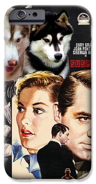 Husky Art iPhone Cases - Siberian Husky Art Canvas Print - Suspicion Movie Poster iPhone Case by Sandra Sij