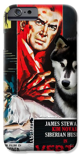 Husky iPhone Cases - Siberian Husky Art Canvas Print - Vertigo Movie Poster iPhone Case by Sandra Sij