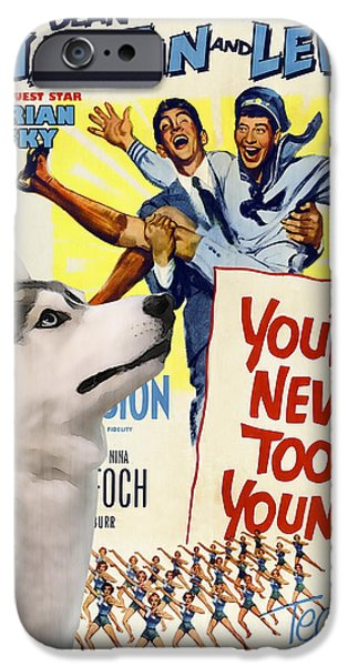 Husky Art iPhone Cases - Siberian Husky Art Canvas Print - You never too Young Movie Poster iPhone Case by Sandra Sij