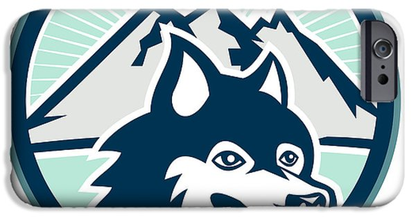 Huskies Digital Art iPhone Cases - Siberian Husky Dog Head Mountain Retro iPhone Case by Aloysius Patrimonio