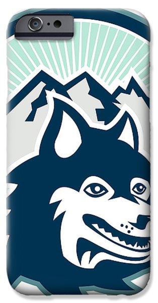 Siberian Husky Dog Head Mountain Retro iPhone Case by Aloysius Patrimonio
