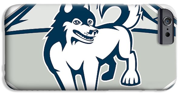 Huskies Digital Art iPhone Cases - Siberian Husky Dog Mountain Retro iPhone Case by Aloysius Patrimonio