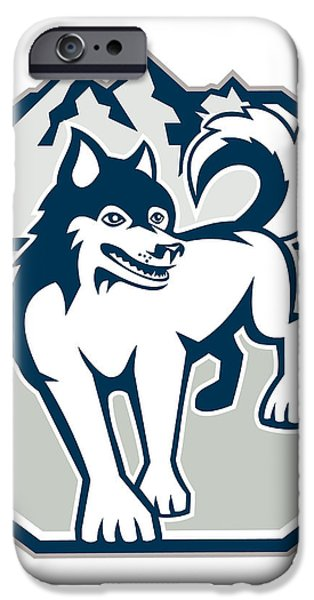 Siberian Husky Dog Mountain Retro iPhone Case by Aloysius Patrimonio