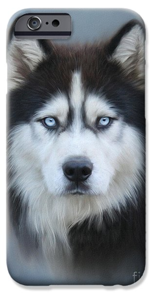 Huskies Digital Art iPhone Cases - Siberian Husky iPhone Case by Lena Auxier