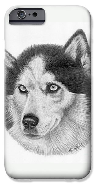 Husky Drawings iPhone Cases - Siberian Husky iPhone Case by Rita Palmer