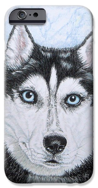 Dog Close-up Drawings iPhone Cases - Siberian Husky iPhone Case by Yvonne Johnstone