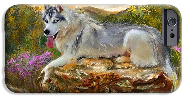 Husky iPhone Cases - Siberian Leisure - SIberian Husky Painting iPhone Case by Lourry Legarde