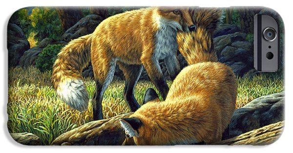 Pup iPhone Cases - Red Foxes - Sibling Rivalry iPhone Case by Crista Forest
