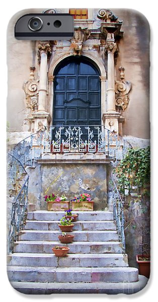 Village iPhone Cases - Sicilian Village Steps and Door iPhone Case by David Smith