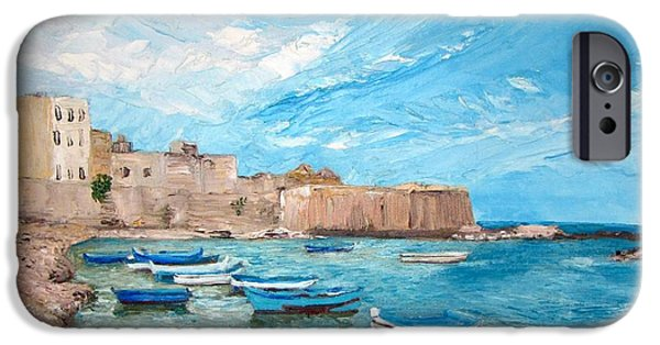 Sicily Paintings iPhone Cases - Sicily iPhone Case by Zina Ghulmiyyah raad