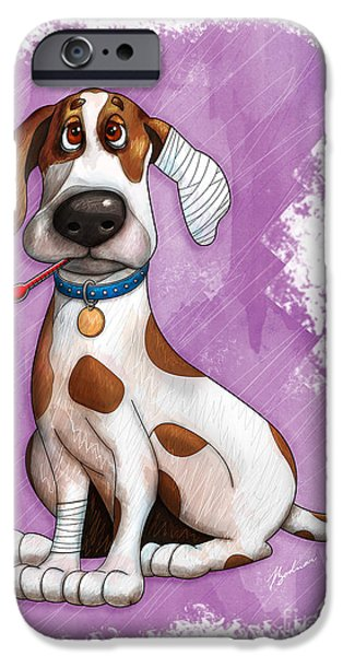 Puppy Digital Art iPhone Cases - Sick Puppy iPhone Case by Gary Bodnar