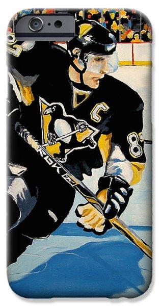Hockey Paintings iPhone Cases - Sid The Kid iPhone Case by Philip Kram