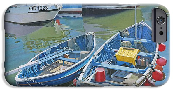 Bouys Paintings iPhone Cases - Side by Side in Whitby Harbour iPhone Case by Graham Clark