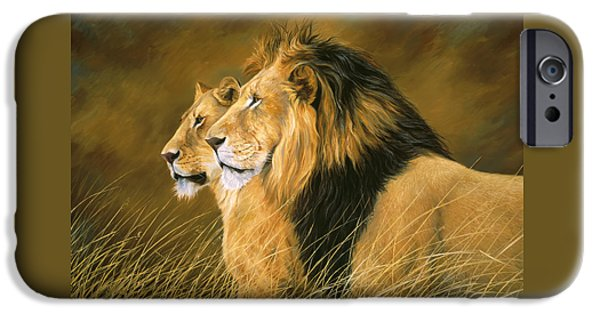 Lion iPhone Cases - Side by Side iPhone Case by Lucie Bilodeau