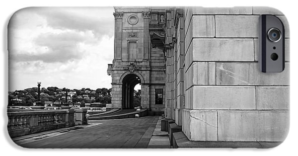 Historical Buildings iPhone Cases - Side Entrance BW iPhone Case by Lourry Legarde