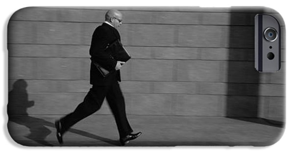 Mid Adult iPhone Cases - Side Profile Of A Businessman Running iPhone Case by Panoramic Images
