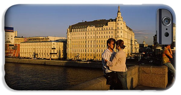 Built Structure iPhone Cases - Side Profile Of A Couple Romancing iPhone Case by Panoramic Images