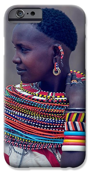 One iPhone Cases - Side Profile Of A Samburu Tribal Woman iPhone Case by Panoramic Images